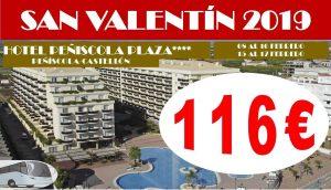 Oferta San Valentín Hotel Peñíscola Plaza con bus